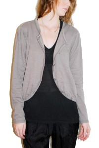 Gray Cotton Curved Hem Cardigan $147