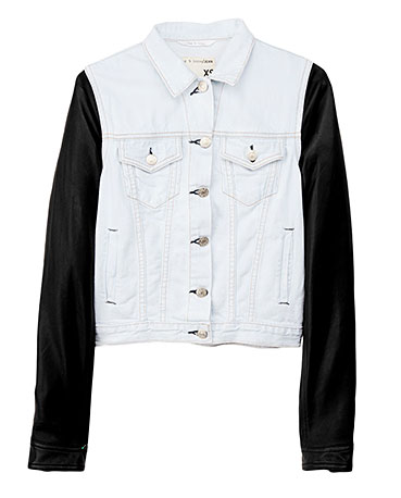 Rag & Bone Leather sleeve contrast jacket