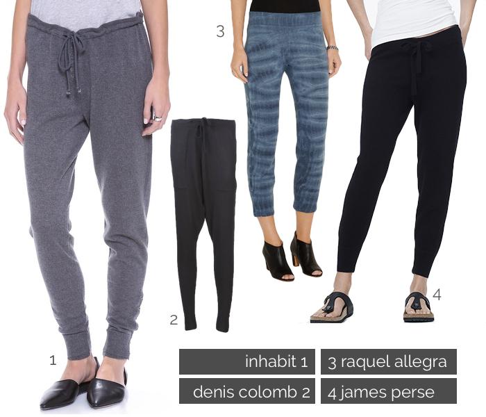 cashmere track pants, slouchy cashmere pants, where to buy cashmere pants, inhabit cashmere pants, james perse cashmere pants