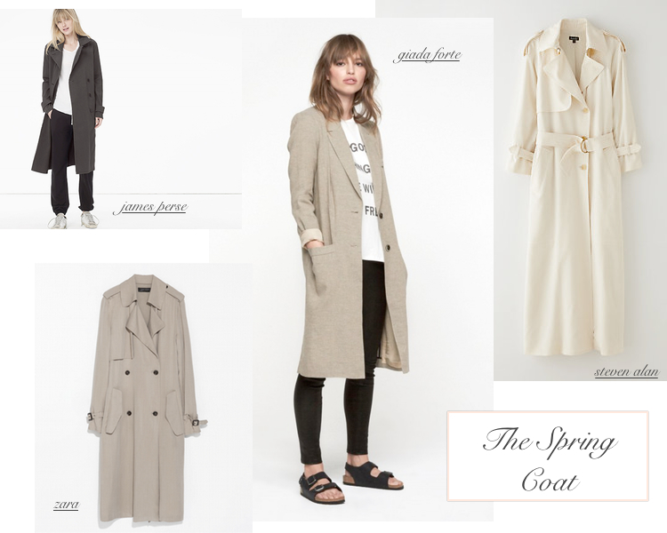 spring coats, james perse long coat, giada forte long trench