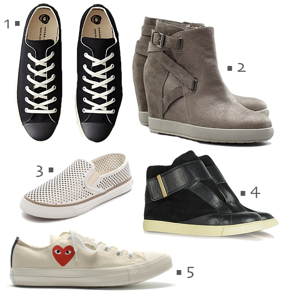 fall 2013 sneakers, wedge sneakers, play comme des garcons converse sneakers, eileen fisher wedge sneakers