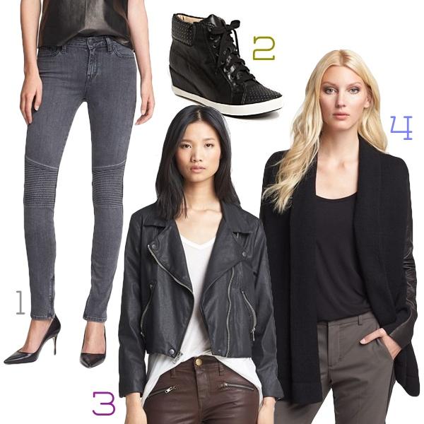 fall 2013 shopping report, vince jeans, vince sweater, splendid wedge sneakers, current elliot coated biker jacket