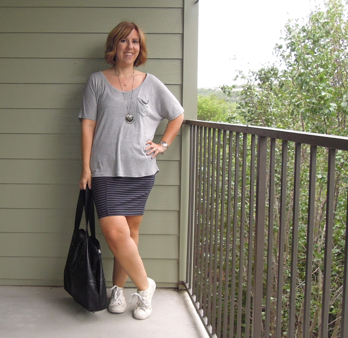 madewell ridgestripe skirt, play comme des garcons converse, everlane ryan tee, fashion blogger outfit