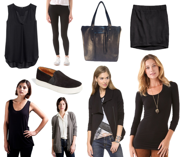black travel wardrobe, monochromatic travel wardrobe